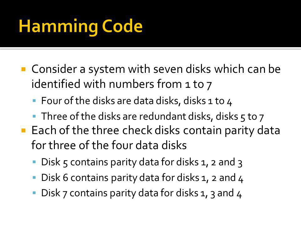Hamming Code Consider a system with seven disks which can be identified with numbers from 1 to 7. Four of the disks are data disks, disks 1 to 4.