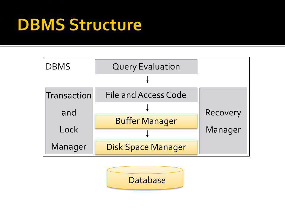 DBMS Structure DBMS Query Evaluation Transaction and Lock Manager