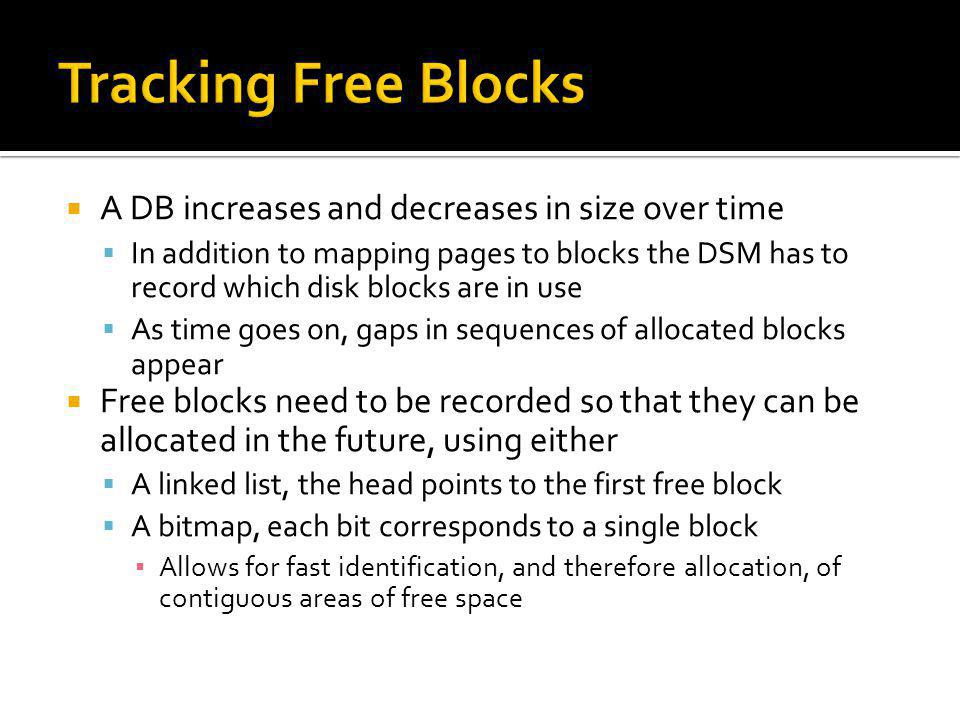 Tracking Free Blocks A DB increases and decreases in size over time