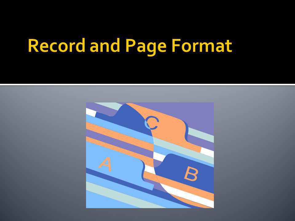 Record and Page Format