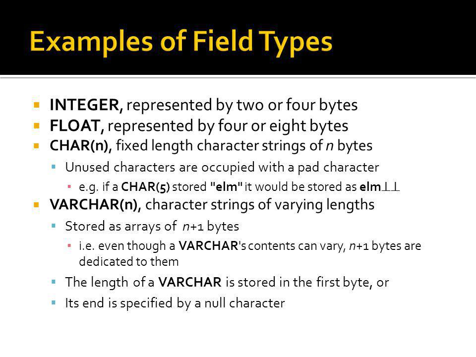 Examples of Field Types
