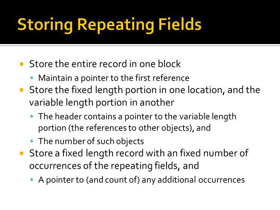 Storing Repeating Fields