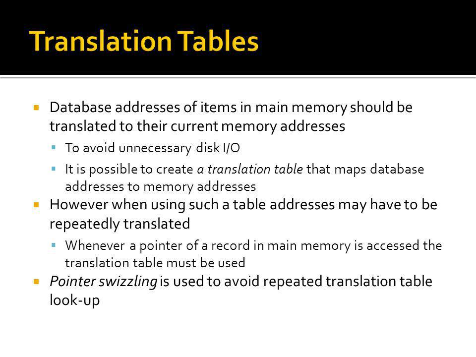 Translation Tables Database addresses of items in main memory should be translated to their current memory addresses.