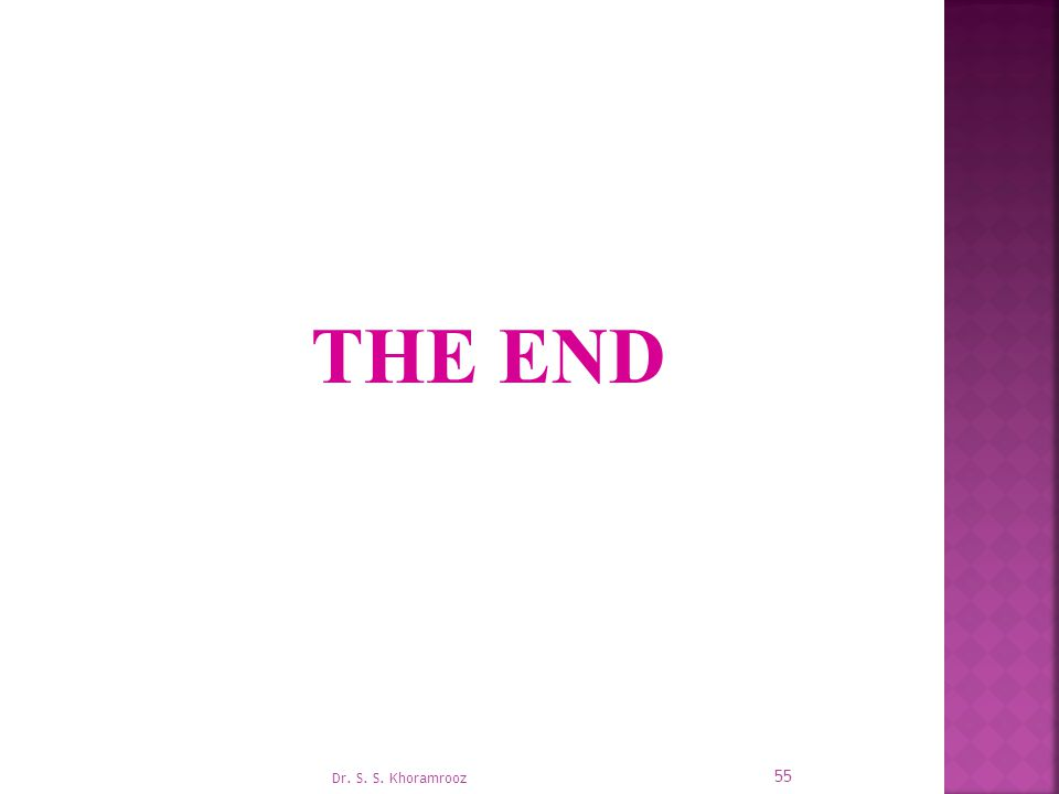 THE END Dr. S. S. Khoramrooz