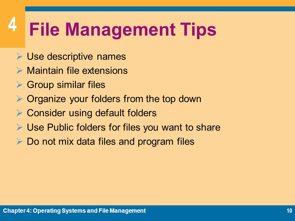 File Management Tips Use descriptive names Maintain file extensions