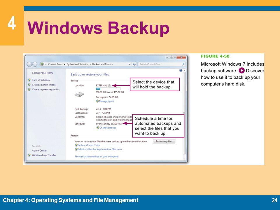 Windows Backup Chapter 4: Operating Systems and File Management