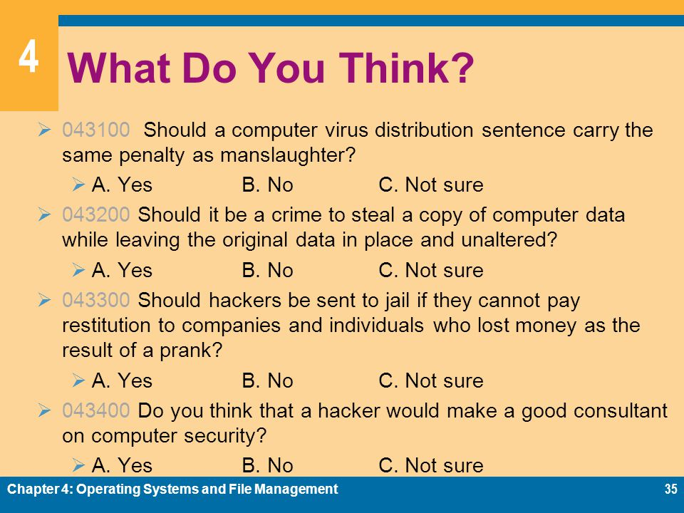 What Do You Think 043100 Should a computer virus distribution sentence carry the same penalty as manslaughter