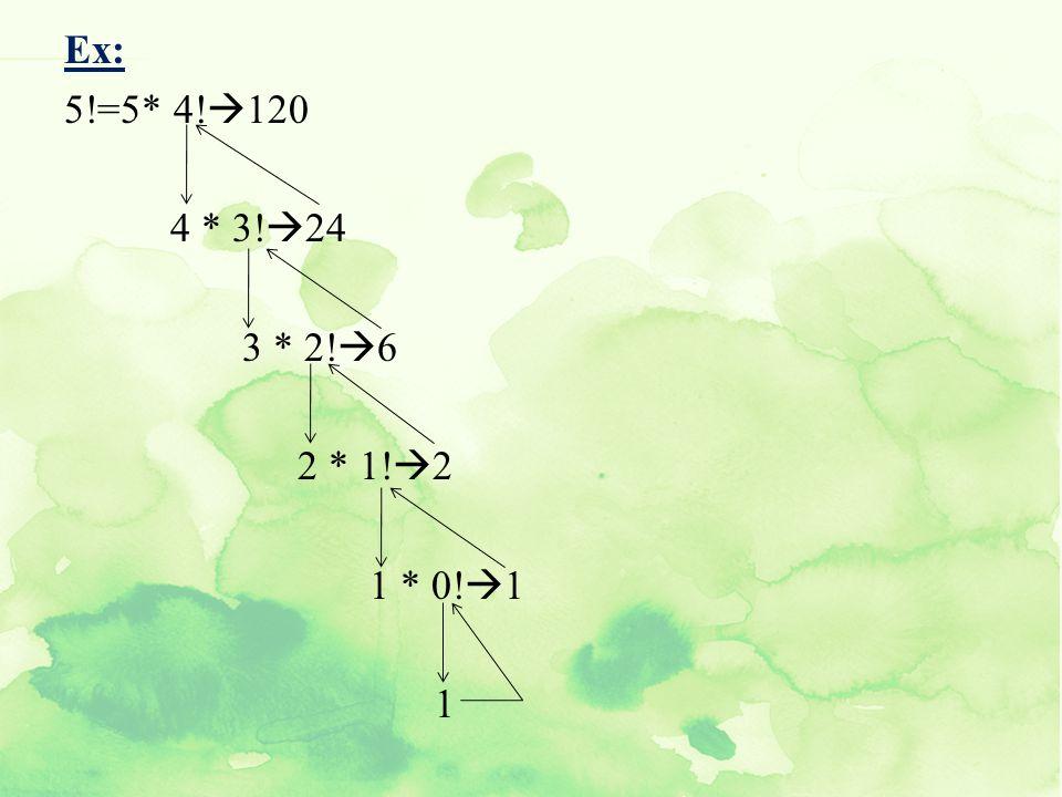 Ex: 5!=5* 4!120 4 * 3!24 3 * 2!6 2 * 1!2 1 * 0!1 1