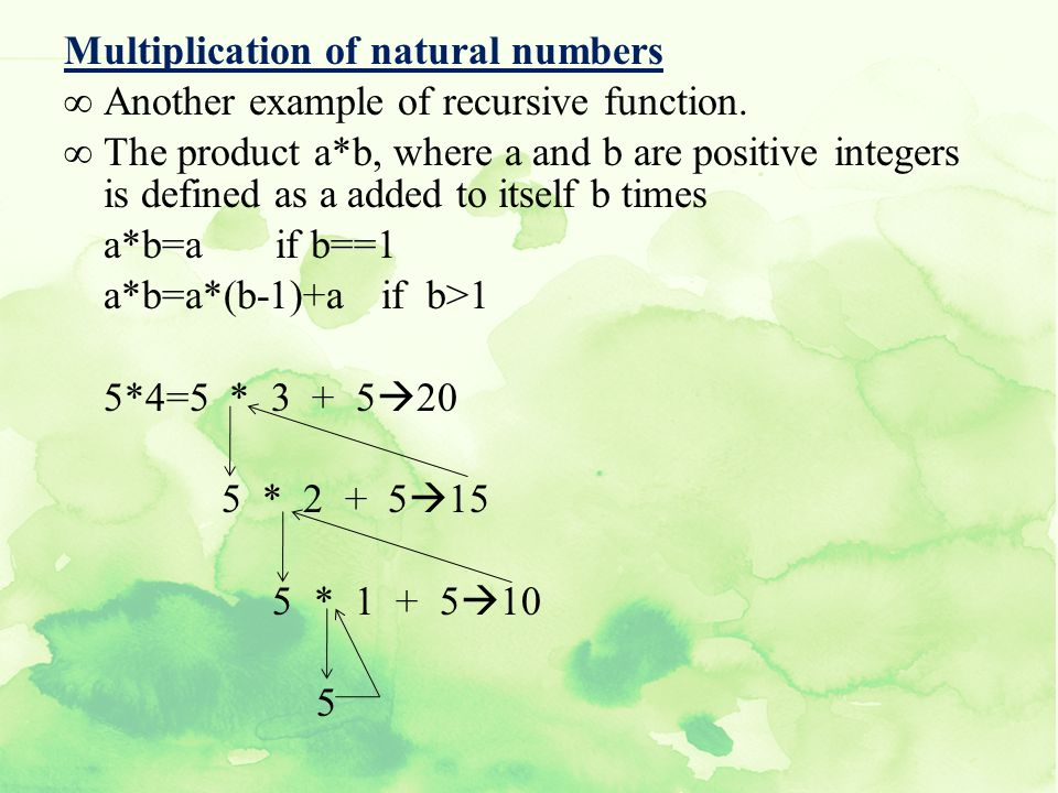 Multiplication of natural numbers