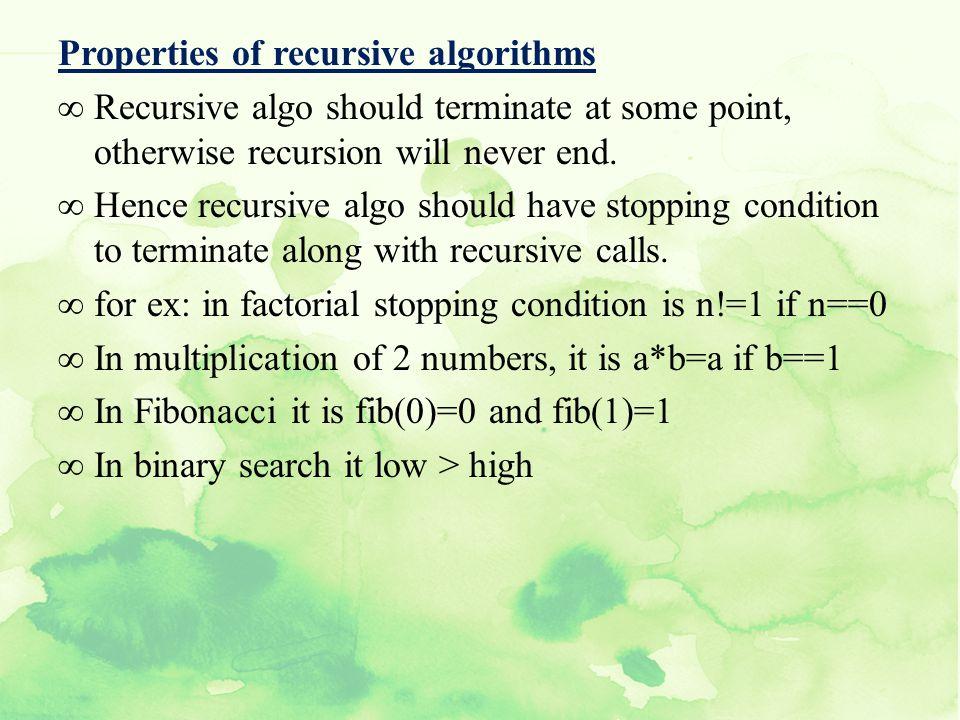 Properties of recursive algorithms