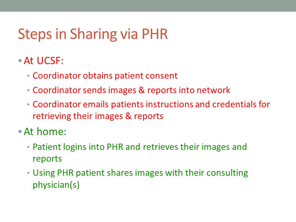 Steps in Sharing via PHR