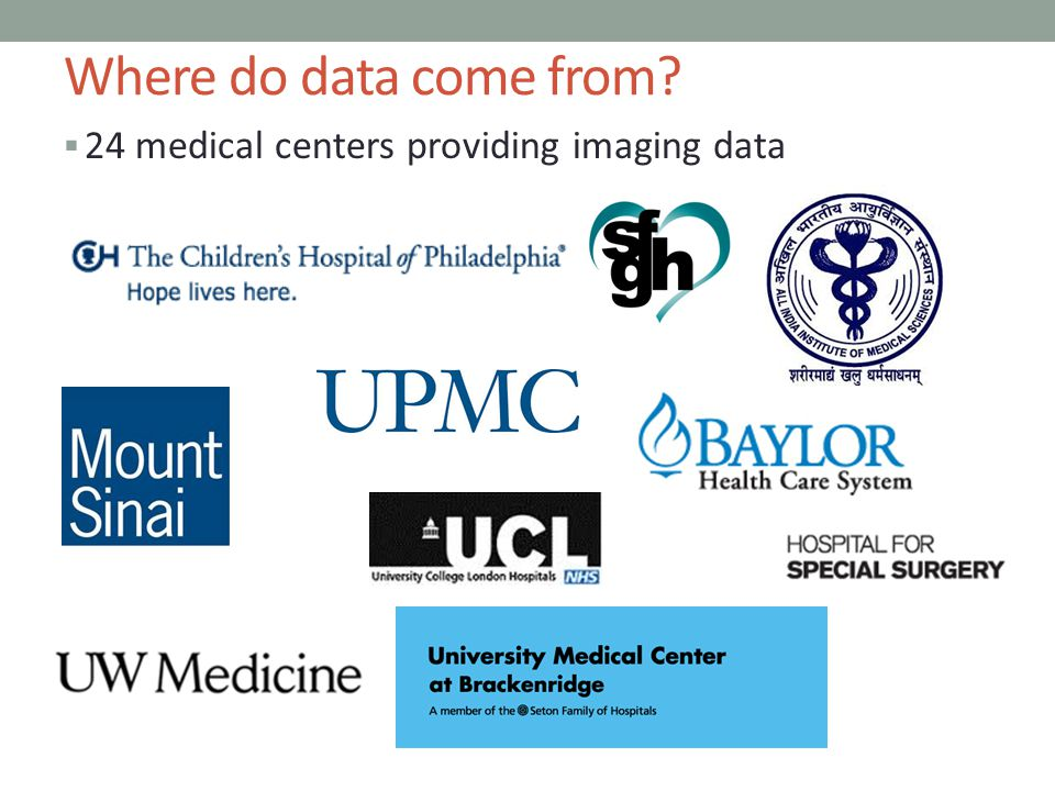 Where do data come from 24 medical centers providing imaging data