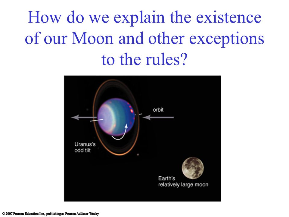 How do we explain the existence of our Moon and other exceptions to the rules
