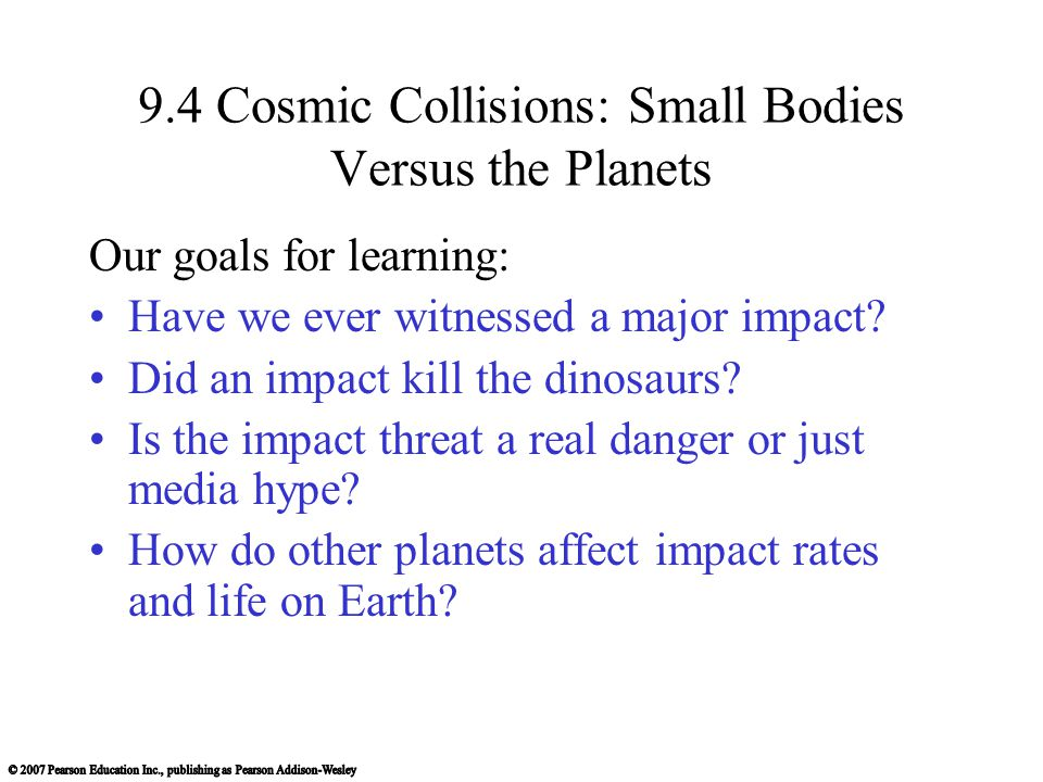 9.4 Cosmic Collisions: Small Bodies Versus the Planets
