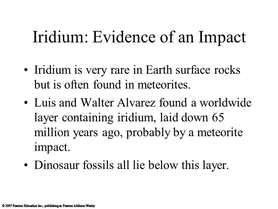 Iridium: Evidence of an Impact