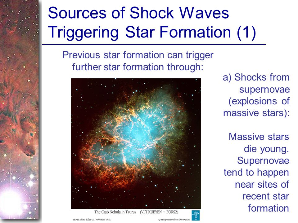 Sources of Shock Waves Triggering Star Formation (1)