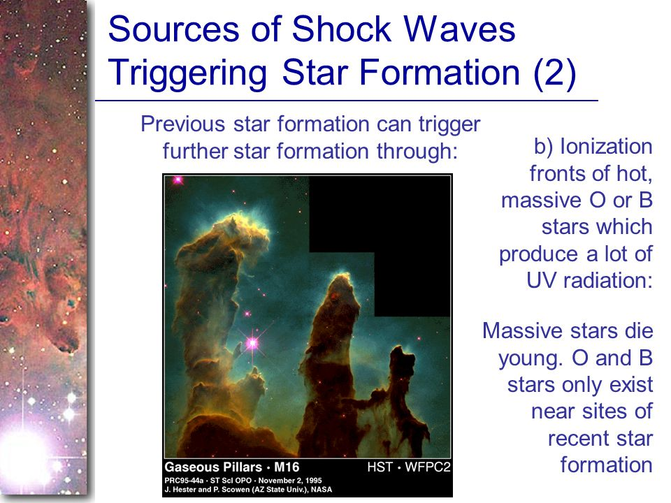 Sources of Shock Waves Triggering Star Formation (2)