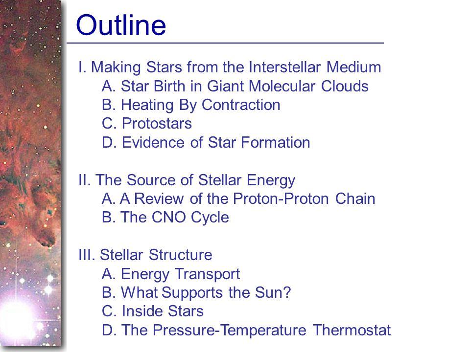 Outline I. Making Stars from the Interstellar Medium