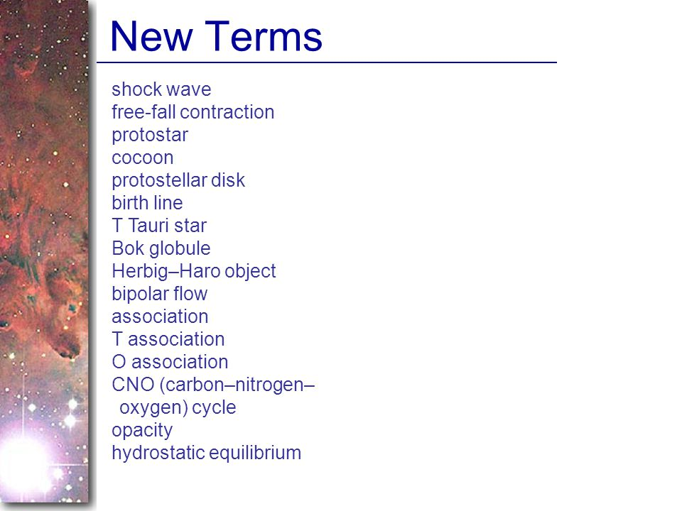 New Terms shock wave free-fall contraction protostar cocoon
