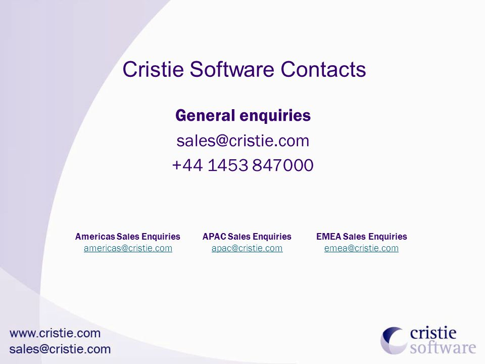 Cristie Software Contacts