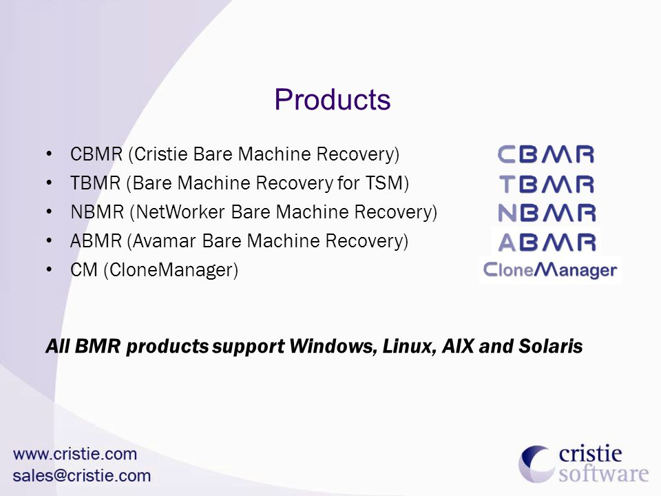 Products All BMR products support Windows, Linux, AIX and Solaris