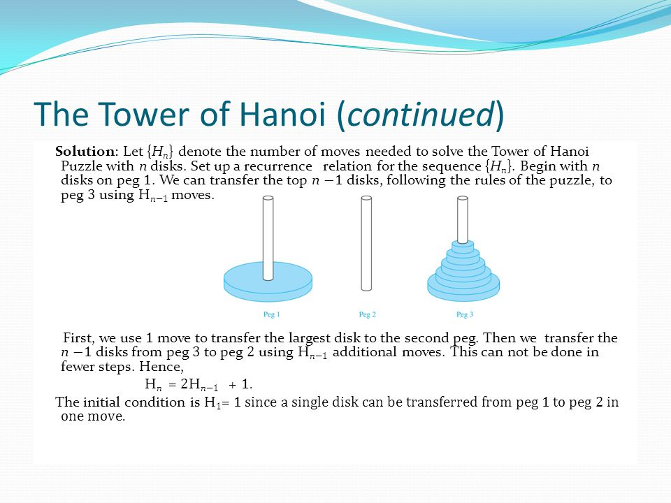 The Tower of Hanoi (continued)