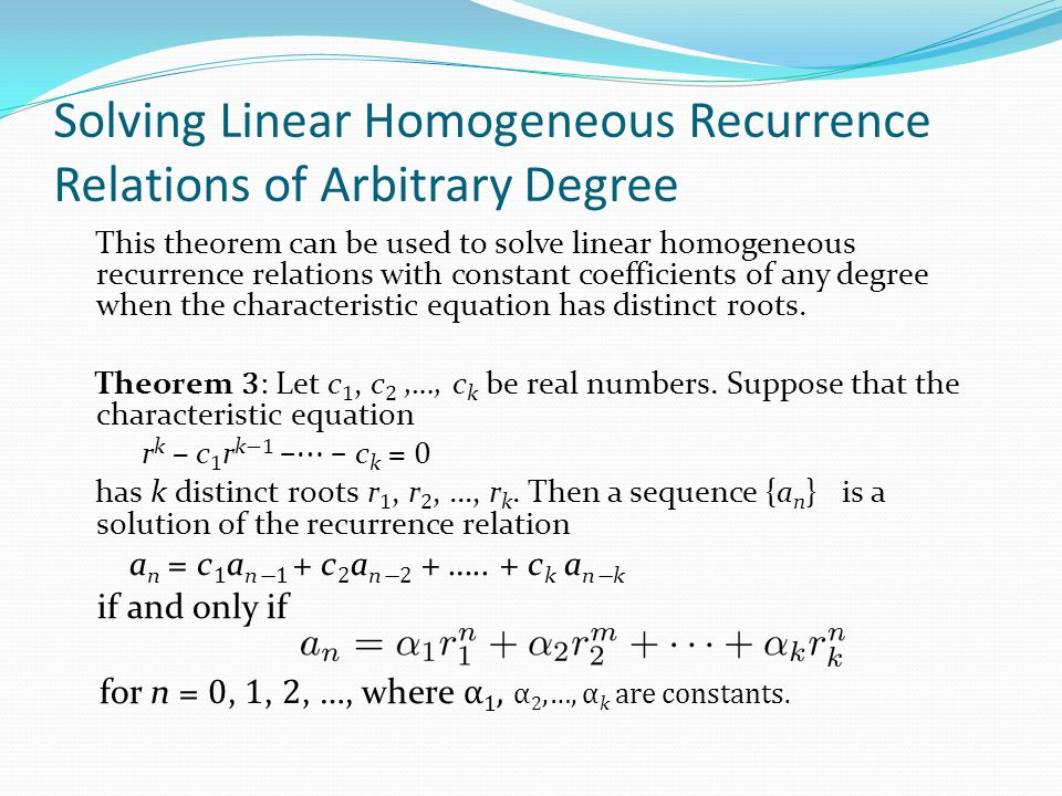 Solving Linear Homogeneous Recurrence Relations of Arbitrary Degree