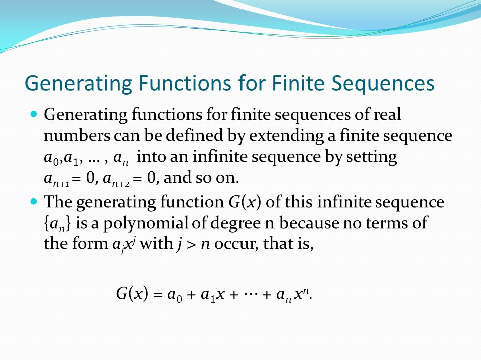 Generating Functions for Finite Sequences