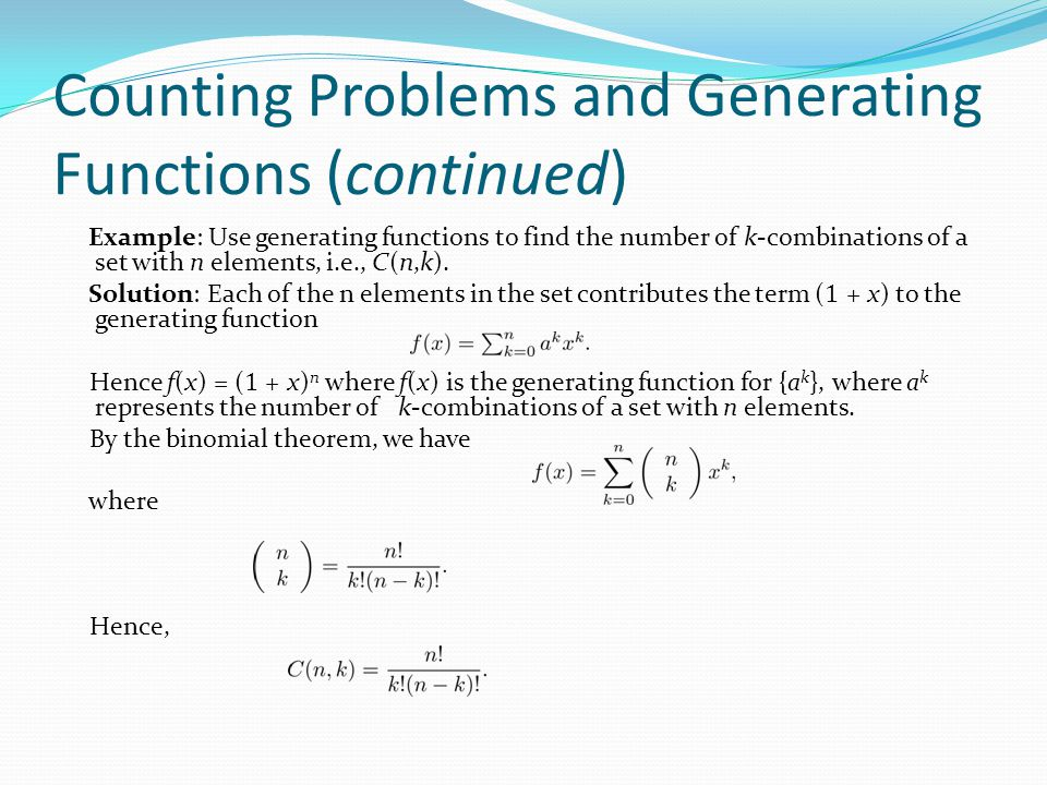 Counting Problems and Generating Functions (continued)