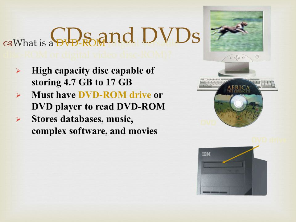CDs and DVDs What is a DVD-ROM (digital versatile disc-ROM or digital video disc-ROM) High capacity disc capable of storing 4.7 GB to 17 GB.