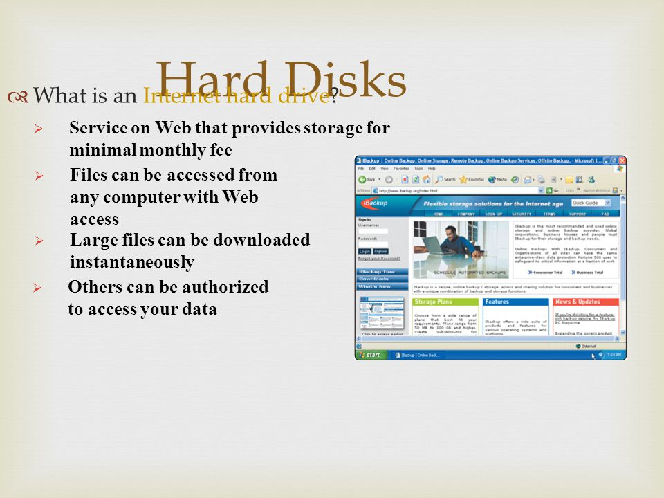 Hard Disks What is an Internet hard drive
