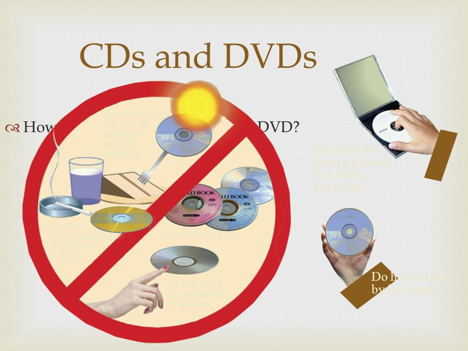 CDs and DVDs How should you care for a CD or DVD