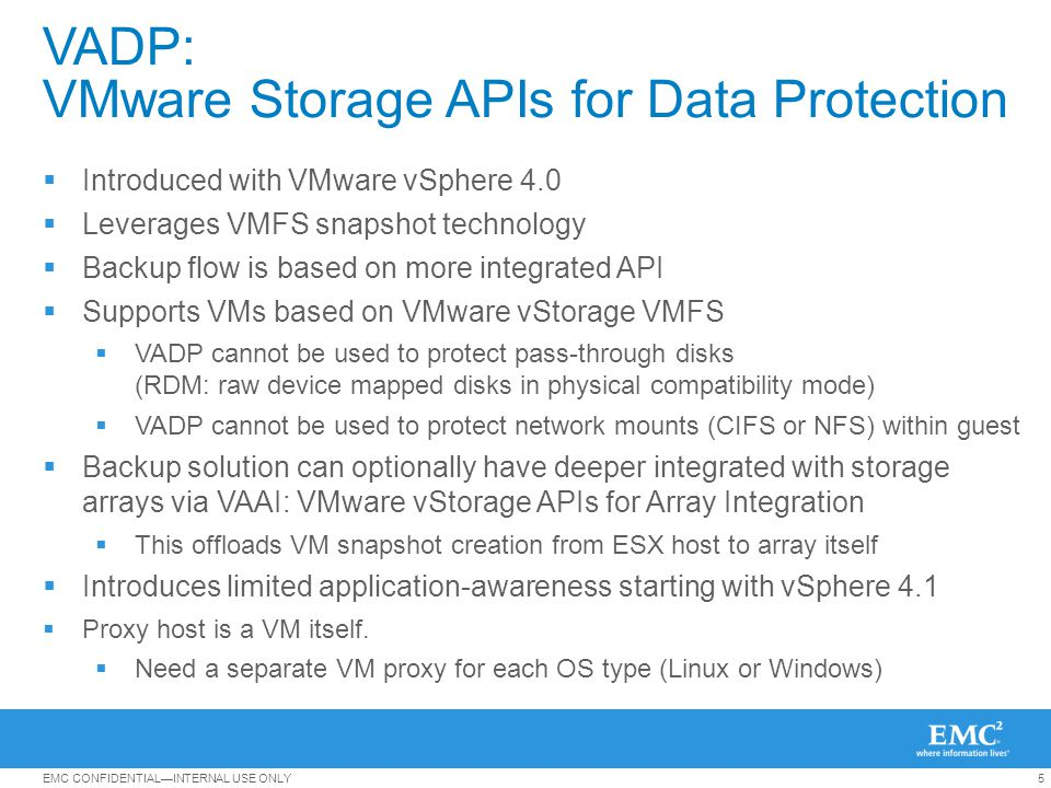 VADP: VMware Storage APIs for Data Protection