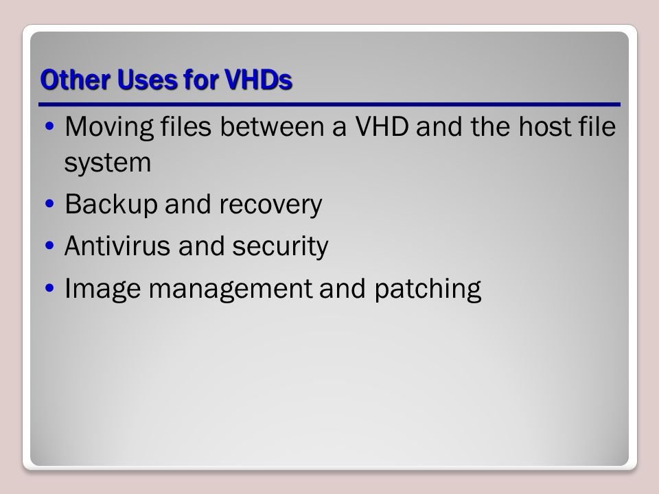 Moving files between a VHD and the host file system