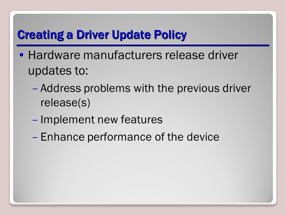 Creating a Driver Update Policy