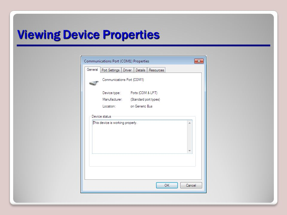 Viewing Device Properties
