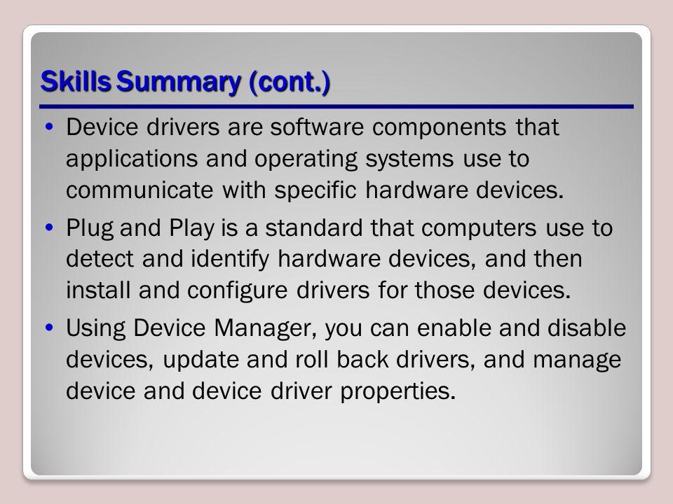 Skills Summary (cont.)