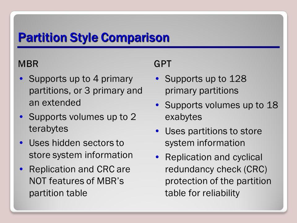 Partition Style Comparison