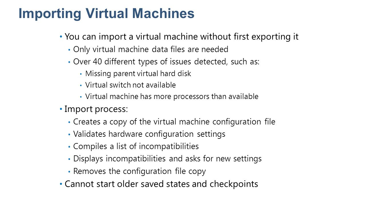 Importing Virtual Machines