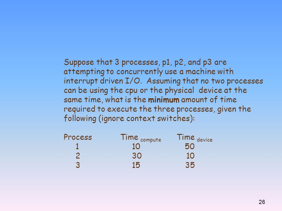 Suppose that 3 processes, p1, p2, and p3 are attempting to concurrently use a machine with interrupt driven I/O. Assuming that no two processes can be using the cpu or the physical device at the same time, what is the minimum amount of time required to execute the three processes, given the following (ignore context switches):