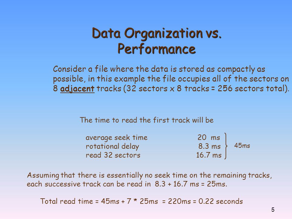 Data Organization vs. Performance