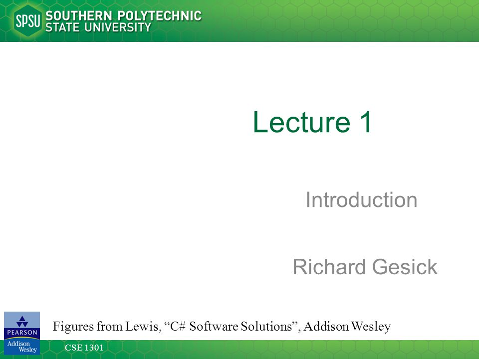 Lecture 1 Introduction Richard Gesick