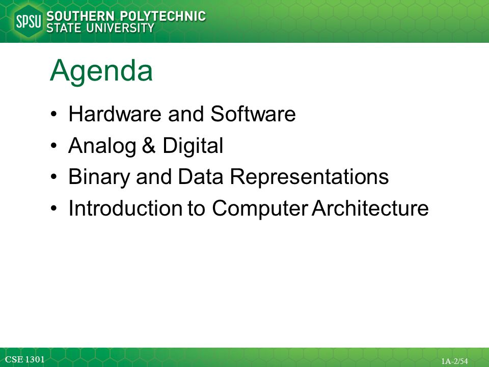 Agenda Hardware and Software Analog & Digital