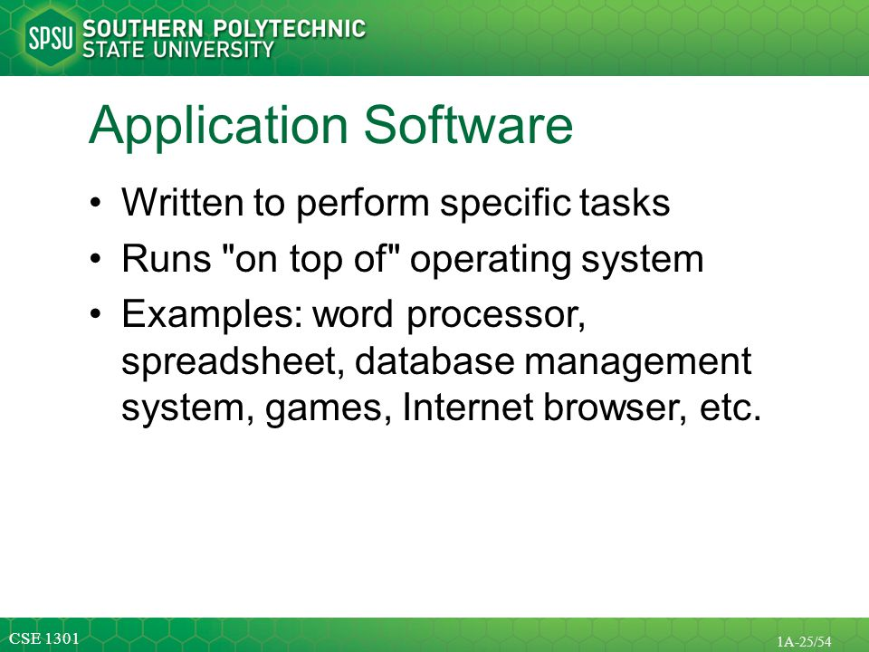 Application Software Written to perform specific tasks