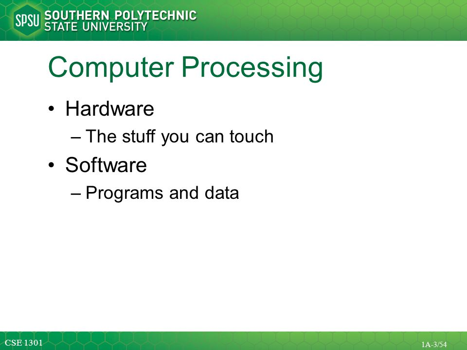 Computer Processing Hardware Software The stuff you can touch