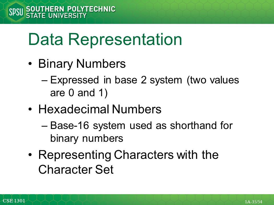 Data Representation Binary Numbers Hexadecimal Numbers