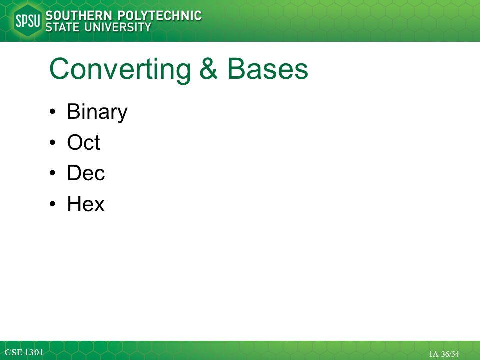 Converting & Bases Binary Oct Dec Hex