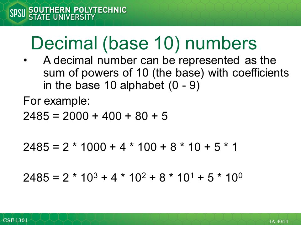Decimal (base 10) numbers