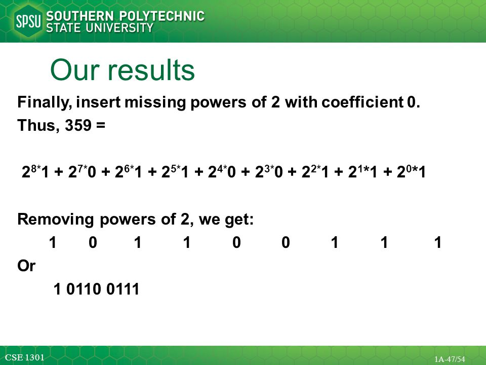 Our results Finally, insert missing powers of 2 with coefficient 0.
