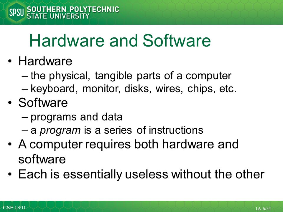 Hardware and Software Hardware Software